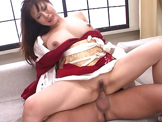 Japanese brunette MILF has forced sex with two guys