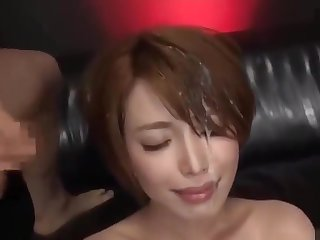 Beautiful Japanese office lady gets pissed round face and bukkaked