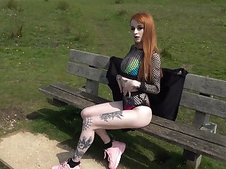 Red haired tattooed bungle Azura Alii gets her anus rammed with the addition of stretched