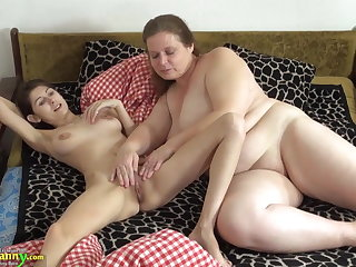 OldNanny Ancient and young woman licking and toying