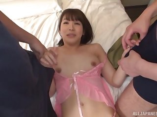 Honoka Riko adores a monk after amazing fingering in a threesome