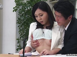 Randy black buff Miyuki Ojima flashes tits and gives nice buff