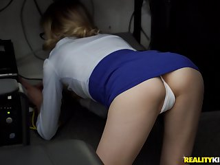 Sexy secretary Ramon Nomar enjoys sex with their way boss in their way office