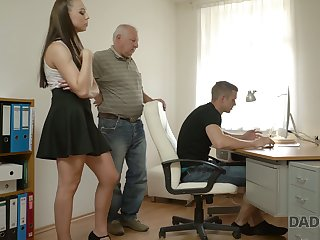 Naughty young chick Ornella is cheating on their way boyfriend with his grandpa