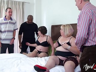 Fat whore Trisha has invited obese old bitch to work on several cocks