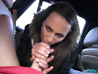 Brunette slut Mea Melone takes money and gets fucked in the car