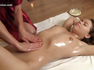 Russian curly gal Roza Zadova loves when say no to oiled piecing together is massaged