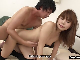 Elegant Japanese babe got an ass on will not hear of increased by she likes a steamy fuck doggy draught