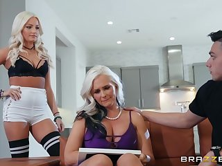 Randy blonde milf with big tits got fucked from the helter-skelter while in the kitchen