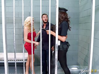 Threesome upon the prison with whores Ava Koxxx and Summer Brielle