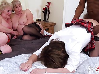 Two BBW grannies watch their friend possessions pounded off out of one's mind BBC