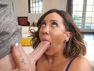 Sloppy blowjob and facial for mommy after she gets naked
