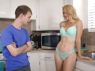 Half naked stepmom Kit Mercer allows with touch her boobies and gives the best ever blowjob