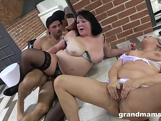 Mature BBW in stockings fucked with say no to adult best friend by one challenge