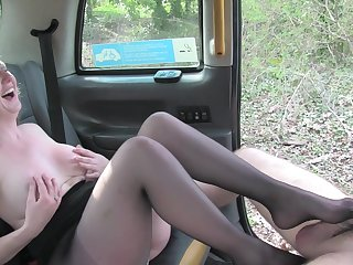 Lucky taxi driver gets A number of Classy Filth in the back of his cab