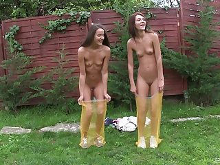Lesbians Alexis and Adriana Brill play in the outdoors and shower