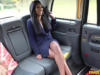 Taxi driver slides his dig up in pink taco of ebony Asia Rae