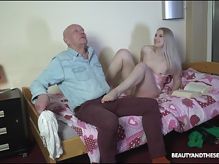 Hellacious stepdaughter makes an old man feel uncomfortable in the lead fucking him
