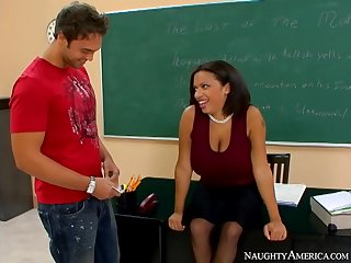 Libidinous ebony woman is working as a teacher and often having casual sex with her students