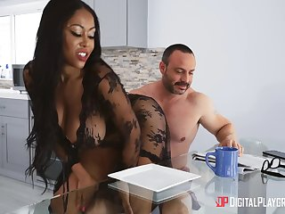 Insane home porn with a thick irritant ebony MILF