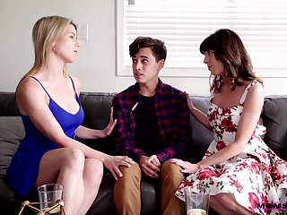 Stepmom can't resist fucking her stepson with her bestie