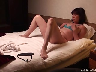 Horny Asian wife in lingerie and stockings wants to have sex