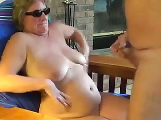 This shameless mature slut loves making me cum roughly her shades on