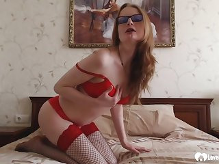 Naughty stepmom down fishnets puts on a solo