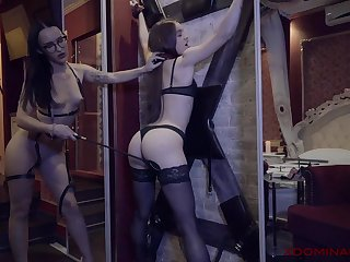 Two darkhaired babe lesbian advantage different dildos stretching assholes