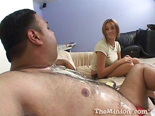 Bush-league guy eats a cake and fucks mouth and pussy of Vanilla Skye