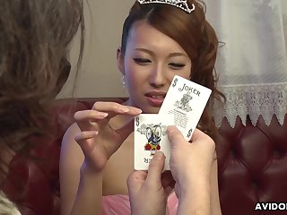 Dude shows her a infrequent card tricks and she is already dripping wet