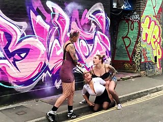 Public bdsm with the addition of outdoor tribadic possession