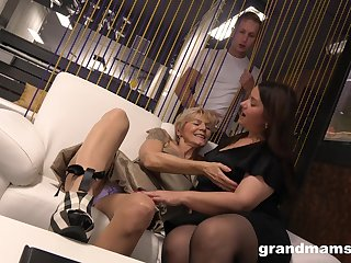 A curious little shaver chain together a follow two mature BBWs playing with at all times other