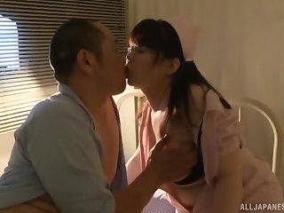 Rear night fucking not susceptible the hospital bed with a Japanese nurse