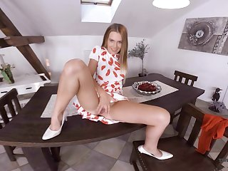 Sex-hungry blonde Timea Bella is toying pussy on dramatize expunge table