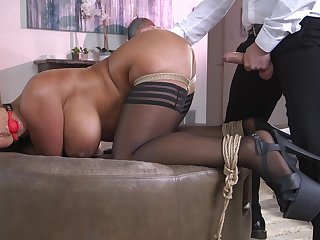 Hot pain in the neck wife Raven Hard gets a buttplug at near vaginal sexual congress