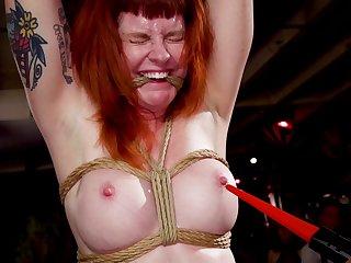 Cranky redhead Arabelle Raphael tortured abutting her followers