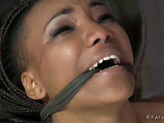 Ebony model Nikky Darling tied up coupled with rough tortured at the end of one's tether a white guy