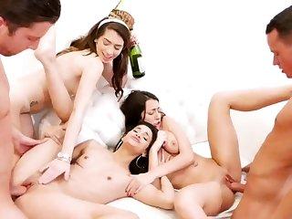 Teen watching boss creep hd New Years Eve Party