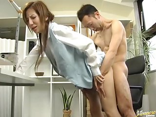 Hairy pussy Japanese girl Mirai enjoys riding a large detect
