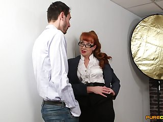 Hot mature shares a big one with the youngest from the office