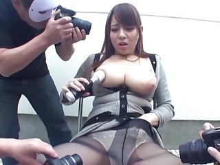 Busty Japanese babe Mishima Natsuko gets pleasured by couple be worthwhile for guys
