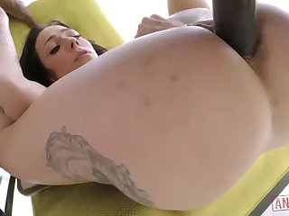 Cool milky brown-haired with giant, indestructible jugs, Harlow Harrison had assfuck fuck-a-thon with a dark-hued chum