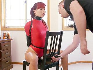 Chair Bound in White-hot Thong Bodysuit